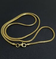 14k Yellow Gold Over Sterling Silver Foxtail Franco Chain Necklace Italy 925