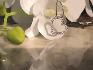 Silver Pendant Love Heart Pink 925