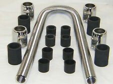 "Universal 48"" Stainless Steel Radiator Hose Kit with Polished End Caps Show Time"