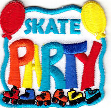 """SKATE PARTY"" -  Skates, Sports, Words, Roller Skate/Iron On Embroidered Patch"