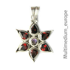 Sterling Silber Anhänger Stern Granat Amethyst silver pendant garnet 🌺🌺🌺🌺🌺