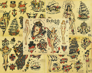 """Sailor Jerry Traditional Vintage Style Tattoo Flash 5 Sheets 11x14"""" Old School D"""