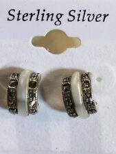 925 Sterling Silver Mother Pearl Marcasite Pierced Earrings