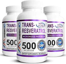 MAAC10 99% Pure Trans Resveratrol 500mg (3 Pack Micronized Resveratrol)