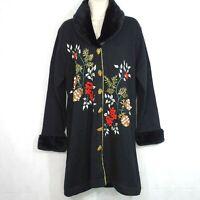 Storybook Knits Cardigan Sweater Jacket Women Size L Black Faux Fur Pinecone NEW