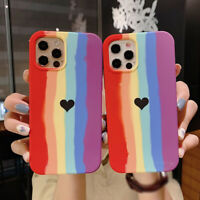 Case For iPhone 12 11 Pro Max XS XR X 8 7 Plus Rainbow Color Silicone Soft Cover