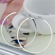 WOMEN NEW ROUND BIG CIRCLE LARGE HOOP HUGGIE LOOP EARRINGS JEWELRY Platinum A1