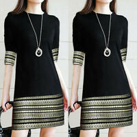 Fashion Women Ladies Vintage Long Sleeve Elegant Splice Casual Office Mini Dress