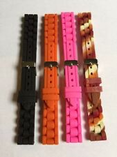"NEW Silicone Rubber Diver Watch Band Strap Black Orange Pink Multi 7.5"" 16mm"