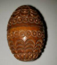 Vintage Coquilla Nut Sewing Egg Needle Case Thimble Holder