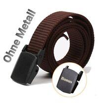 Men's Women's Belt Braun Metal Free Plastic Buckle 120cm Metalllos
