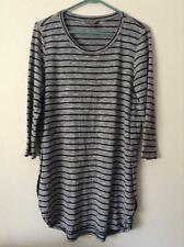 KATIES Black Stripe 3/4 Sleeve Viscose Top Sz M