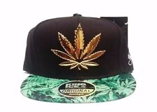 New 3D Cannabis Leaf Weed Marijuana Black Snapback Hat Cap Mens Womens Unisex