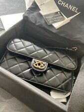 CHANEL Glazed Calfskin Quilted Medium Perfect Edge Black Flap - AUTH