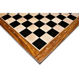 "23"" Large Solid Ebony & Maple Wood Chessboard 60 mm Square - Algebraic notations"