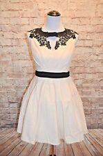 Modcloth Beyond the Call of Beauty Dress NWT 6 Cream Black Fit & flare formal