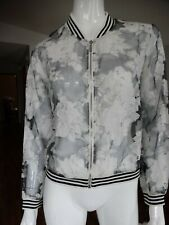 LUCY PARIS Floral sheer bomber jacket Large
