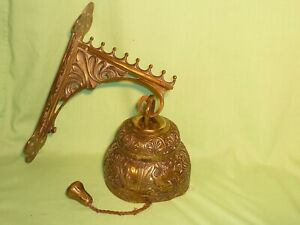 Antique Brass Temple Bell with Wall Bracket LEO AQUILA AGNUS PELICANUS