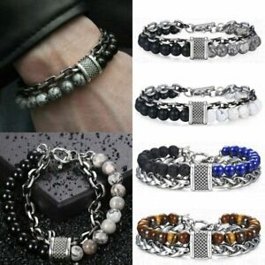 Men's Natural Stone Agate Beads Punk Bracelets Stainless Steel Chain Jewelry