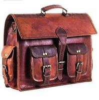 Pure Leather Messenger Bag Computer Distressed Brown Satchel Briefcase Manly Men
