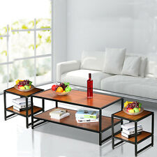 Modern Living Room 3 Piece Wood Metal Shelf Coffee Cocktail Side End Table Set