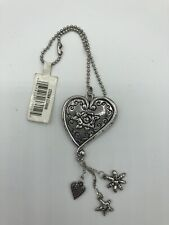 Heart Car Charm Mirror Hanging Pewter Acrylic Large w flower and star charms