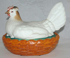 ANTIQUE WHITE CONTINENTAL STAFFORDSHIRE PORCELAIN COVERED CHICKEN W/ EGGS BASKET