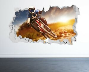 MOUNTAIN BIKE WALL STICKER 3D LOOK - KIDS BEDROOM EXTREME STUNT WALL DECAL Z1020