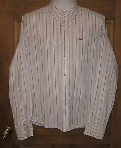 Hollister by Abercrombie Long Sleeve Button Down Striped Dress Shirt XL
