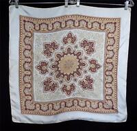 "VINTAGE 1950'S-1960'S FINE SILK GREY, BROWN AND CREAM PAISLEY SCARF 28""W X30""L"