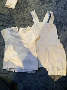 Coco Baby Boy T Shirt And Dungaree Set - Age 0-3 Months - VG Used Condition
