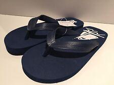 "NWT CREWCUTS BOYS NAVY BLUE ""SAIL ON"" Flip Flops/sandals Size 10"