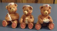 Set of Three -Nurse Bear Figurines- Brown Bears in Nurse's Hats w/ Med Supplies