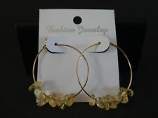 Empowering Jewelry Handcrafted Smoky Quartz Hoop Earrings Gold Tone Alloy Indie