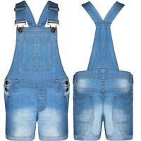 Girls Kids Dungarees Jumpsuit Stretch Denim Jeans Short Hot Pants Dress Playsuit