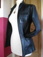 Ladies M&S black real leather JACKET COAT UK 8 biker zip racer safari