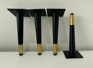 4x Black & Gold Chrome Furniture Feet / Legs For Wardrobe, Cabinet, Chair, Stool
