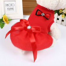 Cute Small Puppy Pet Girl Dog Bow Pearl Princess Lace Skirt Tutu Dress Clothes