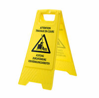 Portwest - Euro Multilingual Cleaning In Progress Sign - Yellow
