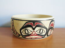 """BOMA Canada Dogfish Potlatch Bowl Serving Dish Carved Hand Painted 8 1/2"""" Label"""