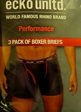 3 Pack ECKO Unltd Small Black Cotton Boxer Brief Performance Underwear Rhino $30