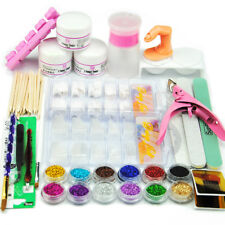 DIY Manicure Nail Art Kit 100pcs Half Nail Tips Acrylic Powder Pump Set US Post