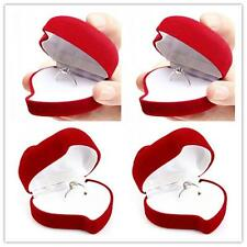 Red Rose Heart Shaped Ring Earring Display Jewelry Box Gift Velvet Storage BR