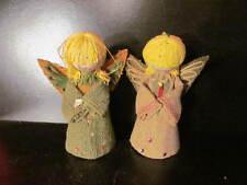 2 Vintage Burlap Christmas Angles Angel Ornaments