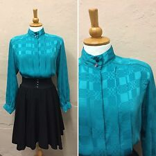 VINTAGE TURQUOISE BLOUSE 1980s DYNASTY SHOULDER PADS POWER (vb211) SIZE 12