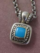 SIGNED 925 STERLING & 14KT YG & TURQUOISE PENDANT & ROLO TOGGLE CHAIN NECKLACE