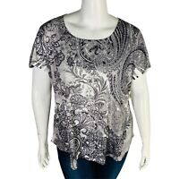 New Style & Co Womans Plus Sz 3X Printed Short-Sleeve Tee Black White New