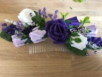 Ladies Wedding Large Hair Comb Purple /& White  /& Lilac /&  £14.99