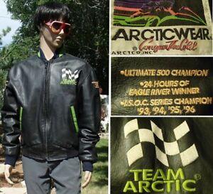 vtg 90s ARCTIC CAT leather snowmobile jacket SNOCROSS WORLD CHAMPION mens L tall
