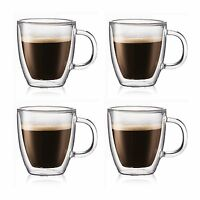 4 Double Wall Clear Insulated Glasses Green Black Tea Coffee Mugs Cups Hot&Cold